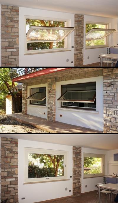 Finestre a bilico orizzontale in legno alluminio a brescia for Finestre orizzontali